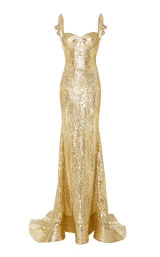 Medium naeem khan gold sweetheart sequin embellished gown