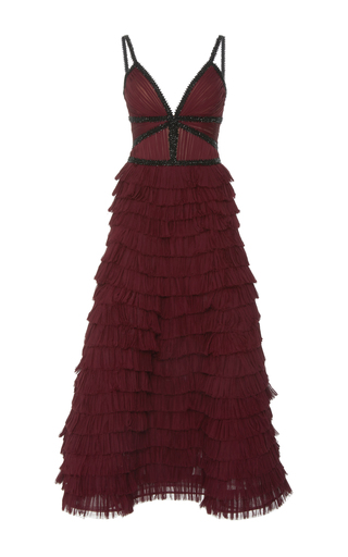 Medium j mendel burgundy pleated midi dress