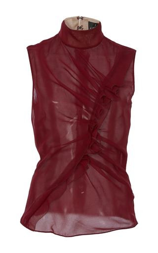 Medium j mendel burgundy sleeveless high neck blouse
