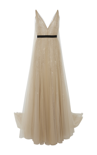 Medium j mendel gold embroidered tulle gown