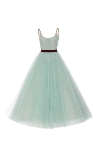 Medium j mendel blue pleated ball gown