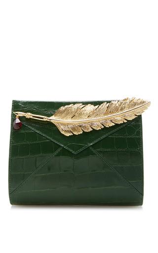 Medium ines figaredo green crocodile clutch with feather
