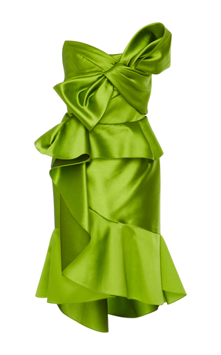 Medium marchesa green strapless cocktail dress with bow