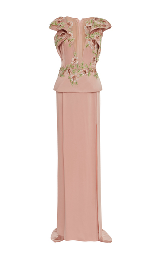 Medium marchesa pink v neck floral embroidered peplum gown