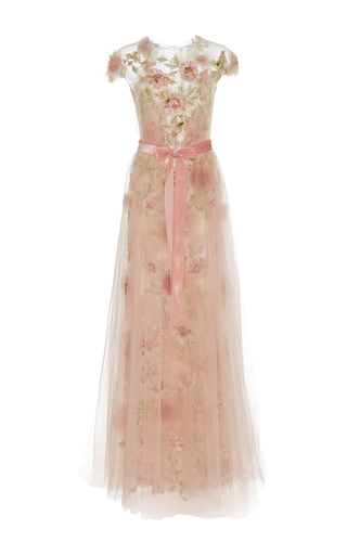 Medium marchesa pink floral beaded embroidered a line gown