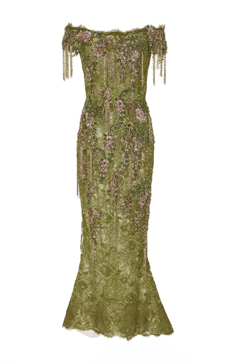 Medium marchesa green off the shoulder lace cocktail dress