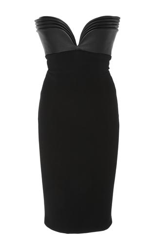 Medium brandon maxwell black leather layered bodice mini dress