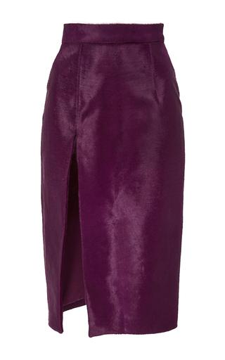 Medium brandon maxwell purple pony hair slit pencil skirt