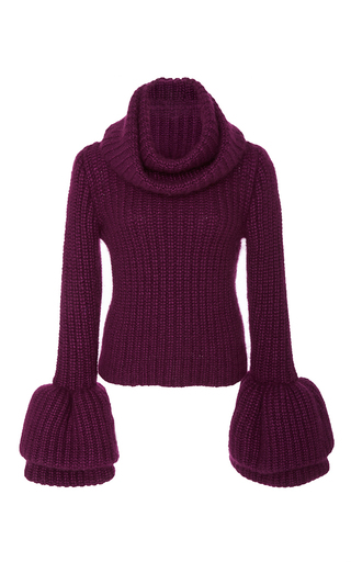 Medium brandon maxwell purple bell sleeve sweater