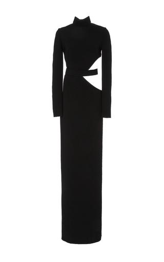 Medium brandon maxwell black long sleeve cut out gown