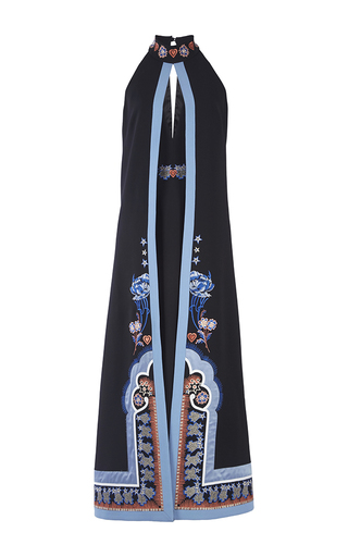 Parchment Embroidered Halter Crepe Dress By Temperley