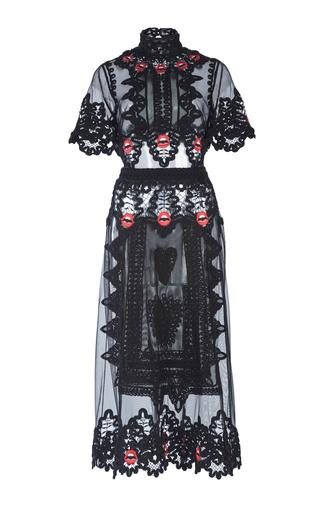 Medium temperley london black leaf midi dress