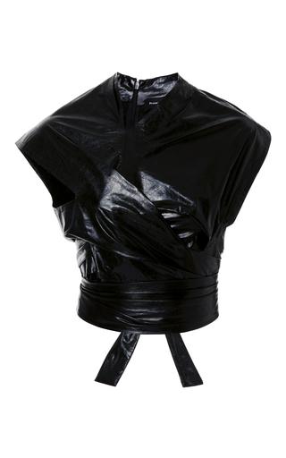 Medium proenza schouler black asymmetrical wrap leather top