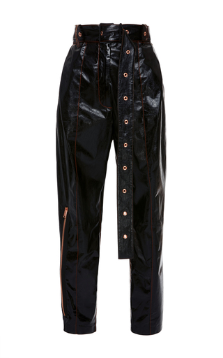 Medium proenza schouler black belted patent leather pant