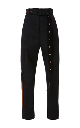 Medium proenza schouler black wool suiting belted pant