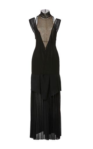 Medium proenza schouler black short sleeve pleated gauze jersey dress