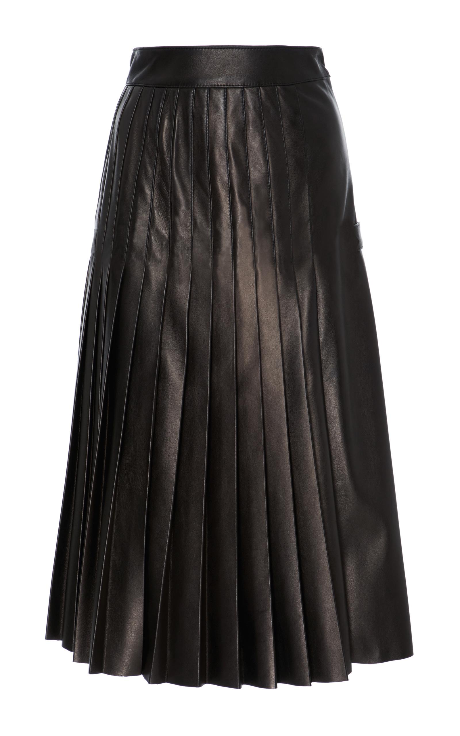 588db4022f Black Leather A Line Midi Skirt