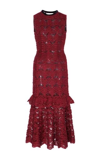 Medium carolina herrera red sleeveless tiered ruffle dress