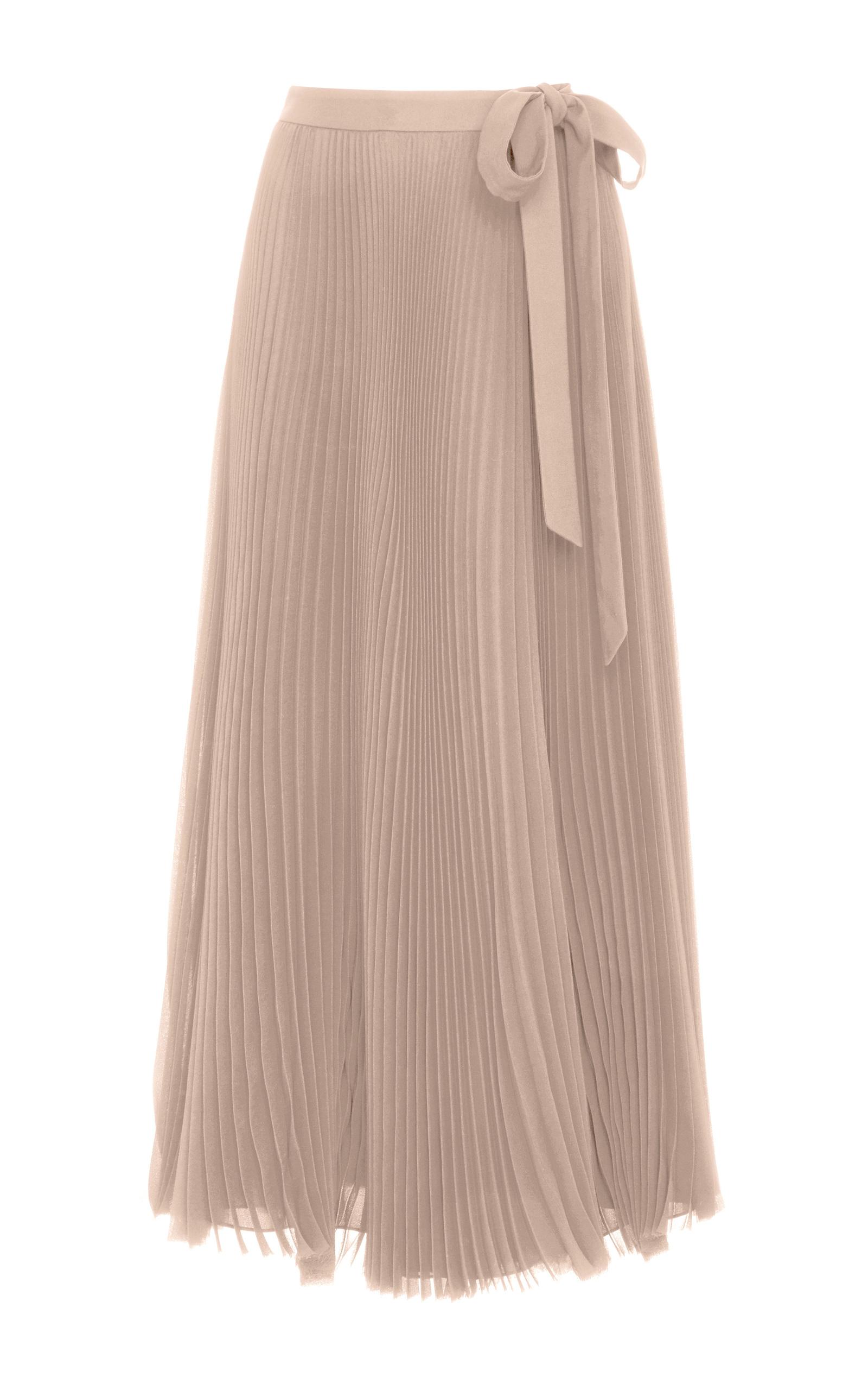 Silk Chiffon Pleated Midi Skirt by Carolina Herrera | Moda Operandi