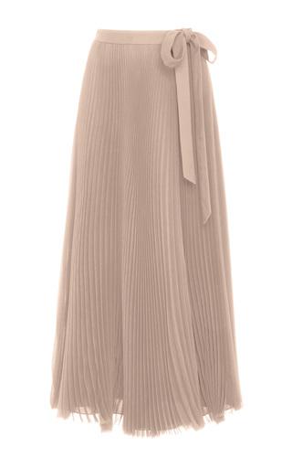 Medium carolina herrera pink silk chiffon pleated midi skirt