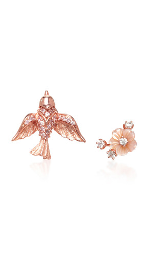 Medium anabela chan gold 14k rose gold diamond and pearl earrings