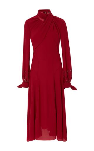 Medium zac posen burgundy crepe long sleeve midi dress