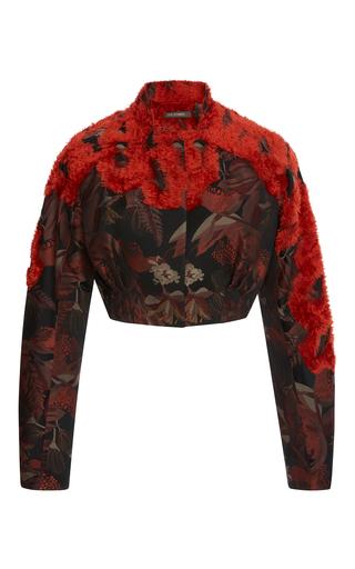 Medium zac posen multi chenille jacquard cropped jacket