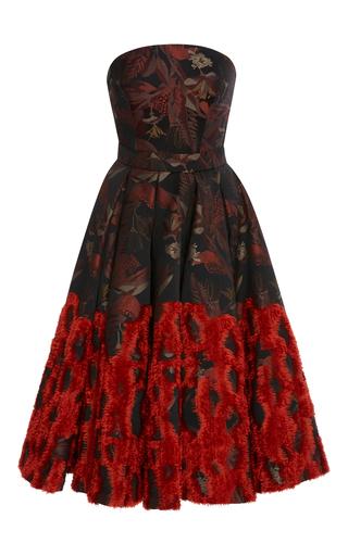 Medium zac posen multi chenille jacquard a line dress