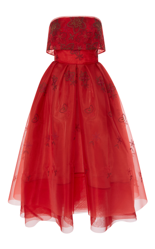 Medium zac posen red embroidered lace strapless dress