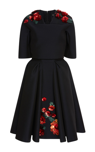 Medium zac posen black embroidered short sleeve jacquard dress