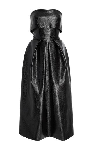 Medium zac posen black patent jacquard strapless midi dress
