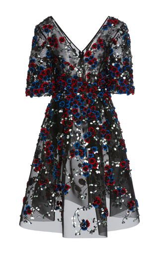 Medium zac posen multi hand embroidered a line midi dress