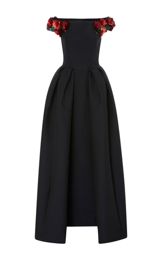 Medium zac posen black embroidered off the shoulder jacquard gown