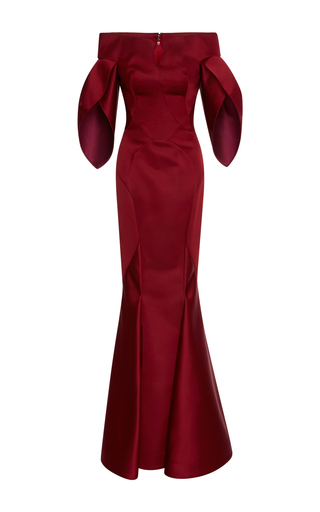 Medium zac posen burgundy duchess off the shoulder gown