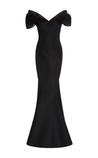 Medium zac posen black silk off the shoulder gown