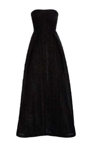 Medium zac posen black hand embroidered strapless gown