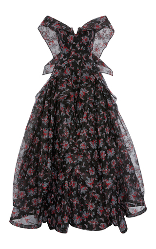 Medium zac posen multi floral embroidered guipure lace ball gown