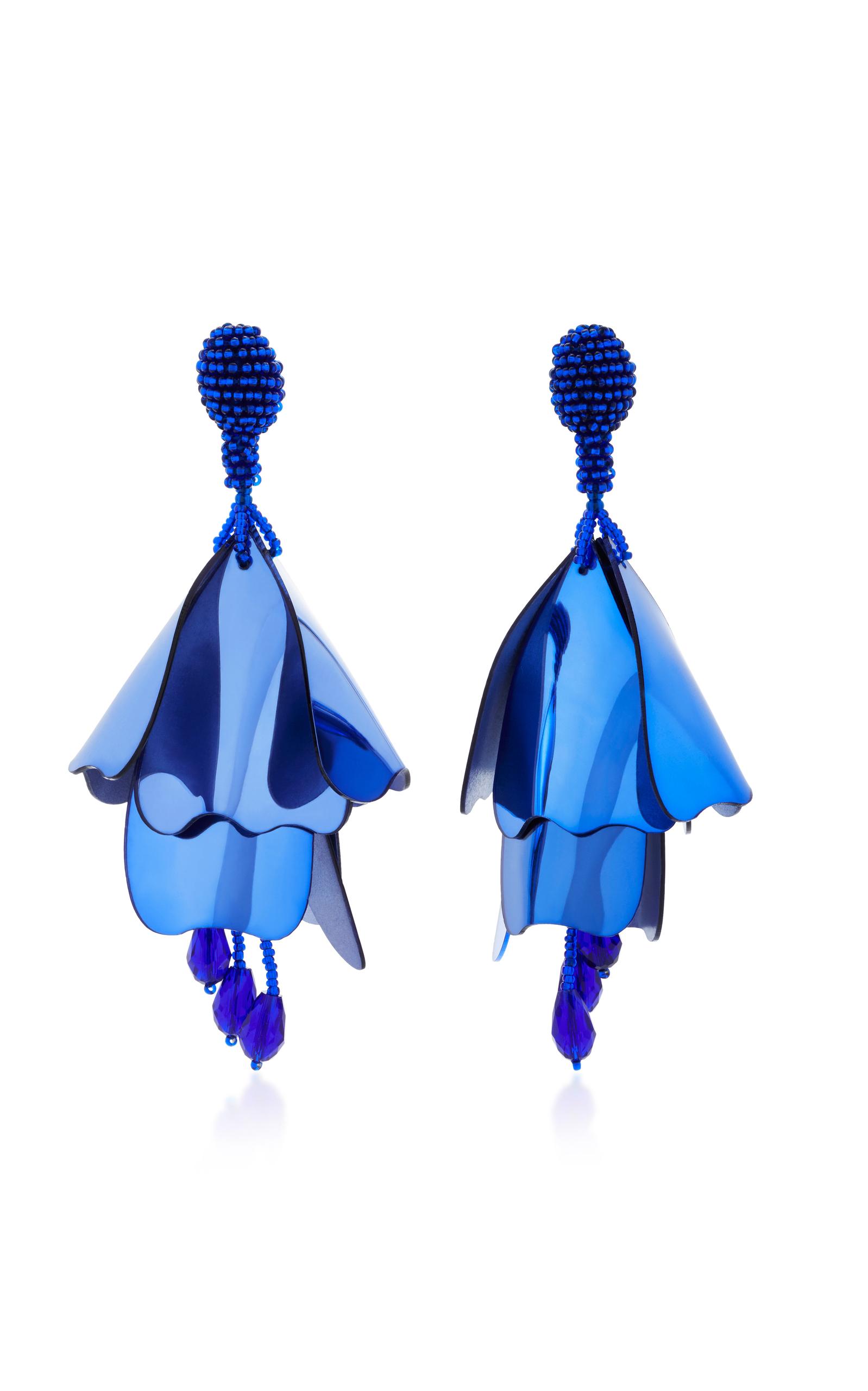 Oscar De La Renta Small Impatiens C earrings - Blue sniSOO