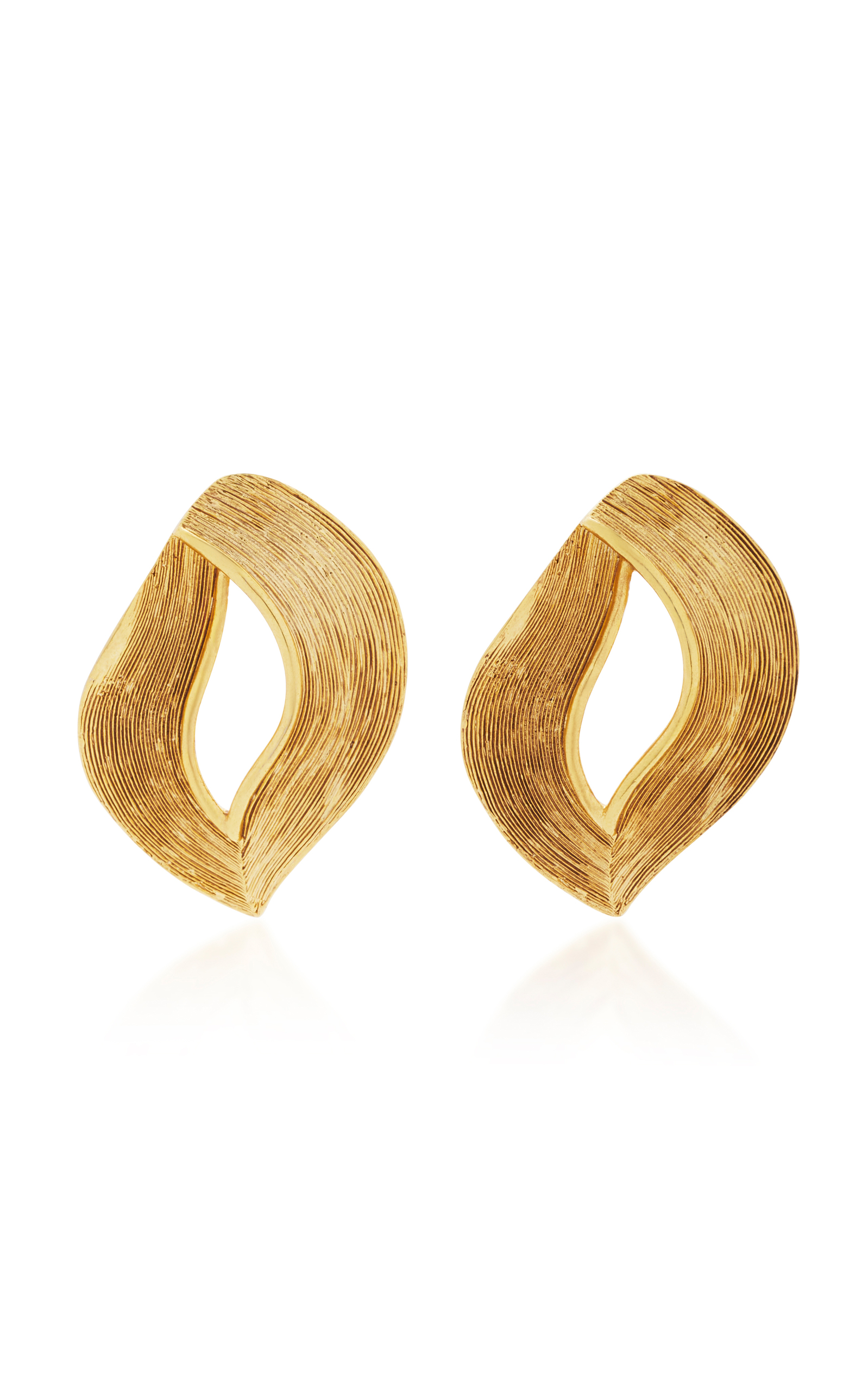 Twisted Ribbon Gold Tone Earrings Close Loading