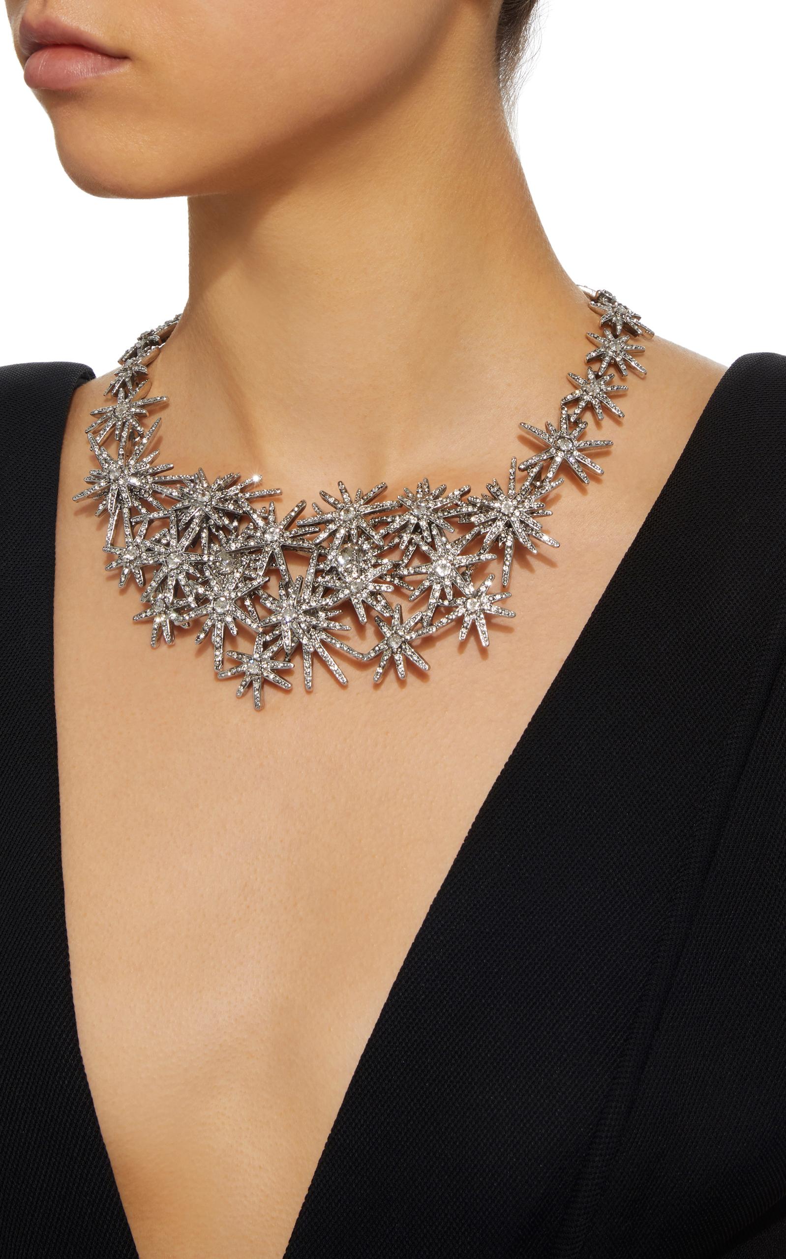 Oscar De La Renta Woman Silver-tone Crystal Necklace Silver Size Oscar De La Renta rZ6SKJuYO