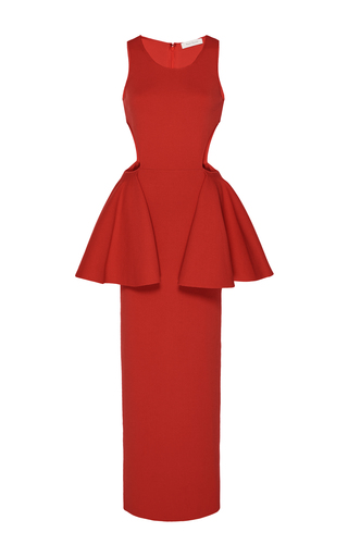 Medium ryan roche red cutout peplum knit dress