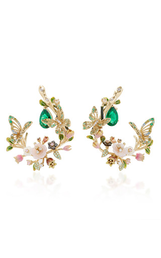 Medium anabela chan green butterfly garland earrings