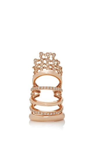 Medium yeprem gold silhouette rays finger tip ring