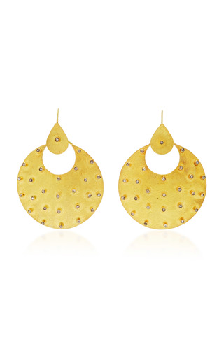 Medium sanjay kasliwal gold round gold and diamonds earrings