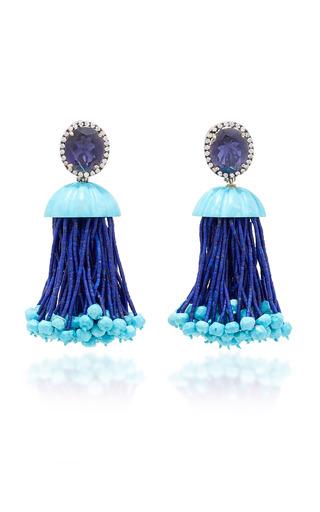 Medium silvia furmanovich blue tassel earrings