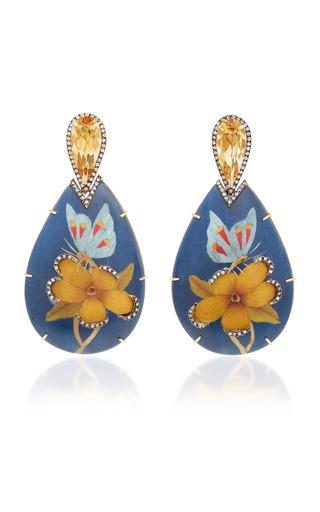 Medium silvia furmanovich blue marquetry butterfly earrings