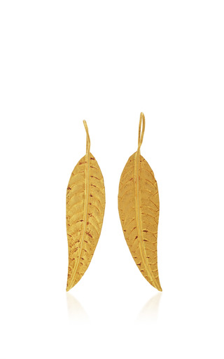 Medium sanjay kasliwal gold gold feather earrings