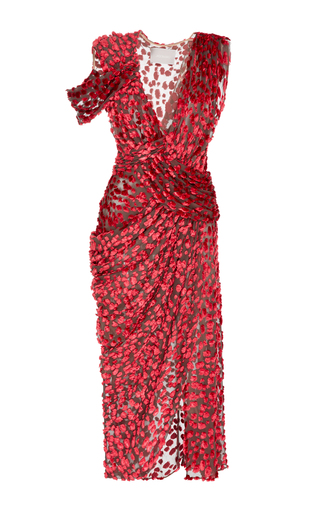 Medium jason wu red velevt devore v neck draped dress