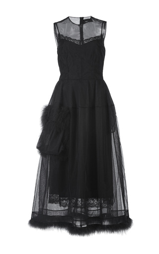 Medium simone rocha black marabou trimmed one pocket bell dress