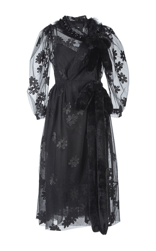 Medium simone rocha black bell sleeve wrap dress with fur trim